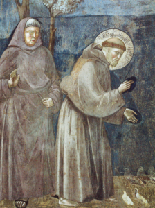 Der hl. Franziskus von Assisi predigt den Vögeln. Ausschnitt aus einem Fresko von Giotto
