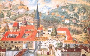 St. Peter in Salzburg, das älteste Kloster im deutschen Sprachraum, im Jahre 1657. Gouache von P. Thiemo Sing