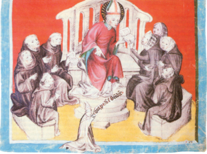 Der hl. Benedikt unterweist die Petersfrauen und die Mönche in der Regel. Darstellung im Register des Abtes Otto II. Chalhochsperger von St. Peter (1375 - 1414)