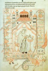 Der hl. Benedikt schreibt die Klosterregel. Darstellung in einem Codex des 12. Jhs.
