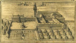 Südansicht des Stifts Sankt Zeno auf einem Kupferstich von Anton Ertl, 1687 V J. Lang