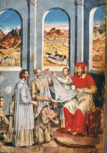 Erzbischof Konrad I. erhebt 1136 den Priester Lanzo zum ersten Propst des neugegründeten Stifts. Miniaturbild von 1654 © J. Lang