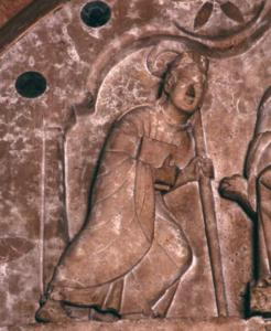 Der hl. Zeno im Tympanon des Hauptportales, um 1220 © J. Lang