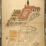 Grund- und Aufriss des Berchtesgadener Franziksanerklosters. Kolorierte Federzeichnung, Mitte 18. Jh. © H. Dopsch