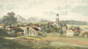 Haslach mit der alten Pfarrkirche (hier eine farbige Kunstpostkarte um 1900) wurde 1978 der Stadt eingemeindet. © Stadtarchiv Traunstein