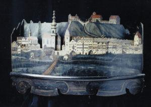 Trostberg vor 1800, Relief im Stadtmuseum. © Landratsamt Traunstein, Kreisarchiv