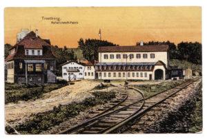 Kalkstickstofffabrik mit Bahnanschluss, Künstlerpostkarte 1911. © Landratsamt Traunstein, Kreisarchiv