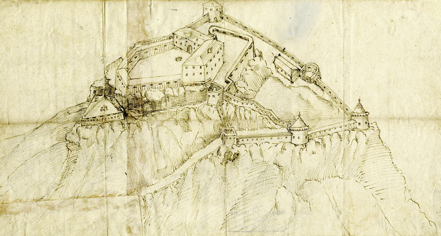 Hohenwerfen zur Zeit der Umbauarbeiten zwischen 1565 und 1586. (Zeitgenössische Federzeichnung; SLA, KuR G.60; Reproduktion SLA)