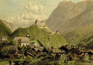 Werfen und die Festung Hohenwerfen um 1880. (Aquarell von C. P. C. Köhler; aus: Die Salzburger Alpen. Aquarelle mit Schilderungen, Darmstadt o. J., nach S. 84; SLA, Graphik I. 32; Reproduktion SLA)