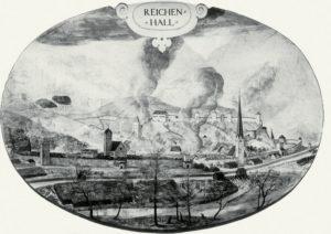 Die früheste Ansicht Reichenhalls um 1580. Über dem Ort standen fast ständig dichte Dampf- und Rauchwolken, die von der Soleversiedung herrührten. © J. Lang