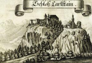 Die Burg Karlstein, davor die Kirche St. Pankraz, um 1700. © J. Lang