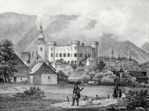 Das Renaissanceschloss Marzoll um 1850. © J. Lang