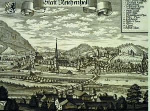 Reichenhall von Kirchberg aus, um 1700. © J. Lang