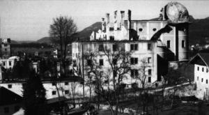 Die Kirchenruine des ehem. Klosters der Augustiner-Eremiten nach dem Brand 1943. © H. Dopsch