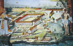 Die Klosteranlage, Wandgemälde in der ehem. Prälatur, Ende 18. Jh. © C. Soika