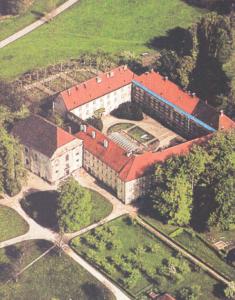 """Das mittelalterliche Klosterareal auf der Herreninsel mit den Resten des """"Inseldoms"""" während der Ausgrabungen 1983 © C. Soika"""
