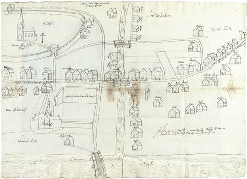Ortsplan von Bischofshofen aus 1674, im linken unteren Viertel die Chiemseeische Hofmark. (SLA, Pfleggericht Werfen 63. Fach 1, Nr. 17, Reproduktion SLA)