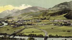 Blick auf Bischofshofen mit den Bahnanlagen, Ende 19. Jh. (Reproduktion SLA, Fotosammlung: A 02446)