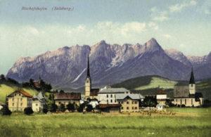 Ortsansicht von Bischofshofen, im Hintergrund das Tennengebirge, um 1900(Reproduktion SLA, Fotosammlung A 02397)
