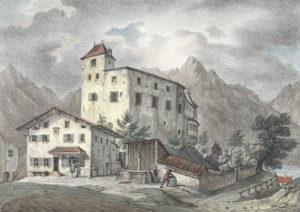 Burg Golling um 1833 (Kolorierte Lithographie von Gustav Kraus, Druck J. B. Dreseli, Reproduktion SLA)