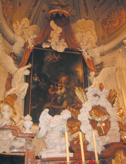 Altarbild - Marter des Hl. Maximilian - P. Troger, 1727; Stuck - Gebr. Brenno; Baldachinkrone - A. Carabelli; Chorschranken und Altar - M. Weissenkirchner, 1725 © C. Schneeweiss