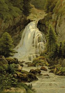Gollinger Wasserfall um 1880 (Aquarell von C. P. C. Köhler; aus: Die Salzburger Alpen. Aquarelle mit Schilderungen, Darmstatt o. J., Reproduktion SLA)