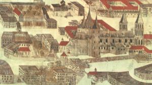 Der romanische Salzburger Dom, Ausschnitt aus der Stadtansicht 1553 in der Erzabtei St. Peter. Über dme Dom sind die roten Dächer des Domstifts zu erkennen, das direkt südlich an den Dom angebaut war. Links vom Dom liegt das Spital des Domkapitels. © H. Dopsch