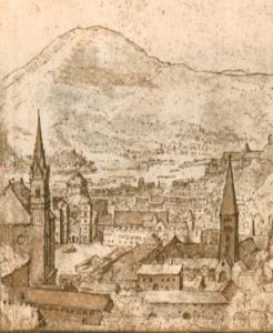 Ausschnitt aus der Stadtansicht Salzburgs von Paulus van Vianen, 1602. Zwischen der Stadtpfarrkirche (links) und dem Kloster St. Peter (rechts) sind der im Abbruch befindliche romanische Dom und das ehemalige Domstift zu erkennen. © H. Dopsch