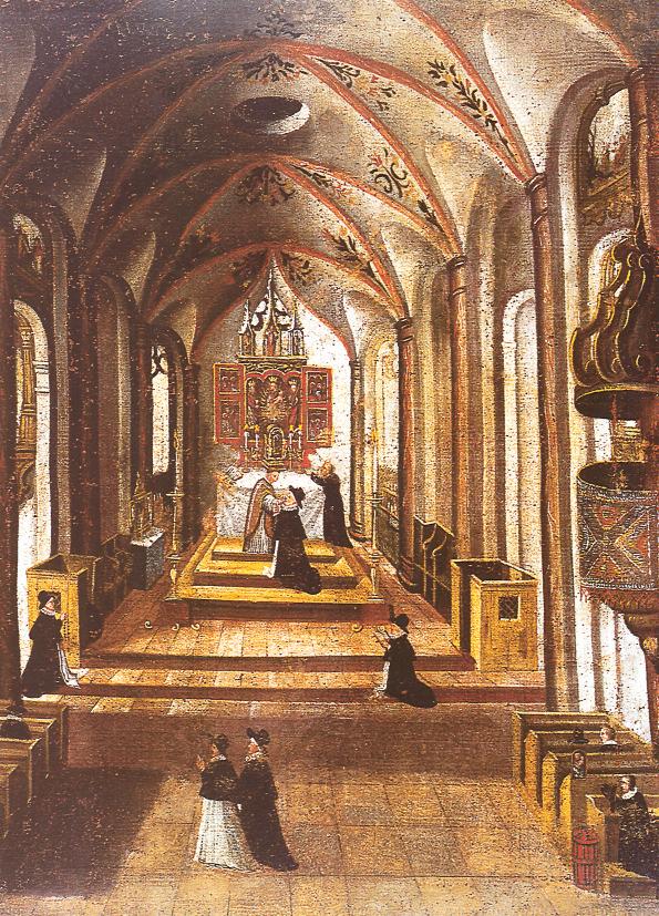 Historische Innenansicht der Müllner Kirche um 1610 mit den Raitenauer Grabkapellen und dem gotischen Hochaltar © A. Hahnl