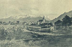 Kuchl gegen Süden, um 1900. (aus: Landesverband für Fremdenverkehr, (Hrsg.): Salzburg : Stadt und Land. – Salzburg 1902 © Reproduktion SLA