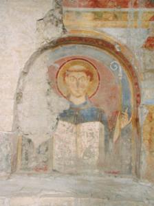 Benedikt von Nursia, romanisches Fresko, 1150