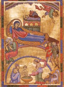 Die Geburt Christi. Ganzseitige Miniatur aus dem Antiphonar von St. Peter, um 1160 © K. Birnbacher