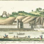 Kirche und Kloster der Ursulinen mit dem Klausentor (rechts). Radierung von Carl Schneeweis um 1800 © C. Schneeweiss
