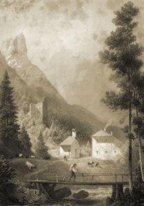 Die Reste der Befestigung am Pass Strub um die Mitte des 19. Jh. (Anton Ritter von Schallhammer, Salzburg 1853, Abb. v. S. 131; Reproduktion SLA)