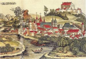 Älteste Ansicht der Stadt Salzburg, um 1460. Altkolorierter Holzschnitt von Michael Wolgemut in der Weltchronik des Hartmann Schedel, Nürnberg 1493. © H. Dopsch/J. Lang