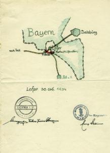 Das 1933/34 geplante Zollausschlussgebiet in der Gegend um Lofer. (SLA, RehrlBr 1934/3076, Reproduktion SLA)