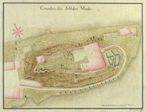 Grundriss des Schlosses Mattsee um 1780. (kolorierter Plan von Joseph Mattseeroider, SLA Landschaft XIV.46; Reproduktion SLA)