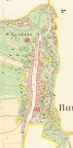Franciszäischer Kataster von 1829. Darauf erkennt man sehr deutlich die planmäßige Anlage des Straßenmarktes. (Repro SLA)
