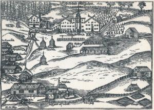 Das Wildbad Adelholzen auf einem Holzschnitt von 1629 © J. Lang