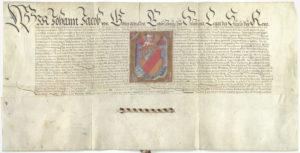 Erzbischof Johann Jakob von Salzburg (1560-1586) verleiht im Jahr 1572 dem Markt Neumarkt ein Wappen. (SLA, Marktarchiv Neumarkt; Repro SLA)