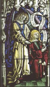 """Peter Hemmel von Andlau, """"Klanner-Fenster"""" im Chor der Stiftskirche Nonnberg. Dargestellt ist der reiche Bürger und Handelsherr Augustin Klanner, der das Fenster 1480 anfertigen ließ. © H. Dopsch/J. Lang"""