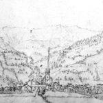 Ansicht des Marktes Rauris auf einer Federzeichnung von Eduard Gurk um 1838. (SLA, Graphik XII.7.47; Repro SLA)