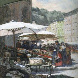 Carl Pippich, Markt auf dem Universitätsplatz in Salzburg 1905. Aquarell und Temperea über Bleistift auf papier, Salzburg Museum. © H. Dopsch/J. Lang