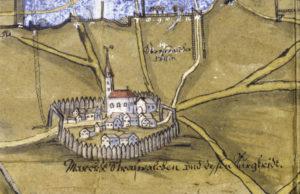 Darstellung des Marktes Strasswalchen auf einem Plan des Landgerichtes am Höchfeld aus dem Jahr 1620. (Repro SLA)