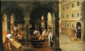 Die Ledererherberge in Salzburg (rechts) mit allegorischen Szenen aus der Lederherstellung. Öl auf Leinwand, 1615, Salzburg Museum. © H. Dopsch/J. Lang