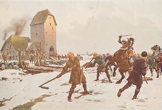 Bauern erstürmen während der Bauernkriege einen Adelssitz. Gemälde von Franz Jung-Ilsenheim © J. Lang/Stadtarchiv Bad Reichenhall