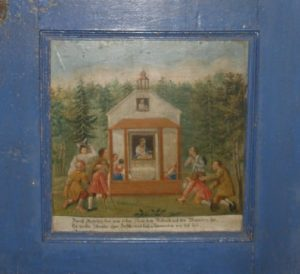 Votivbild, eingelassen in die Tür zum Choraufgang © A. Hahnl