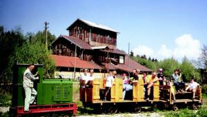 Feldbahnzug vor dem Torfbahnhof © Bayerisches Moor- und Torfmuseum/ Rottau