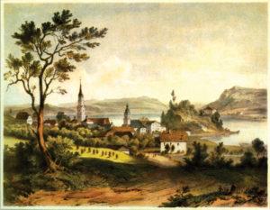 Mattsee mit der Stiftskirche (li.), dem Stift und der Pfarrkirche. Lithographie von Georg Pezolt 1845. © H. Dopsch