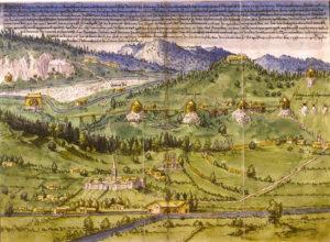Das Rinnwerk (Gablgraben) in einer Ansicht des Bergbaues aus dem Schwazer Bergbuch von 1556 © Knappenverein Oberndorf Rerobichl